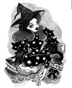 This sweet little witch is enjoying a lazy Sunday with her coven of black cats. Staying up late into the night, reading books and conjuring up wonderful magic spells. Comic Art, Art Sketches, Art Drawings, Rockabilly Art, Witch Coven, Gothic Tattoo, Goth Art, Halloween Art, Horror Art