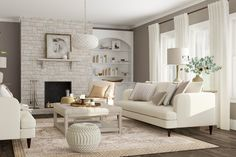 Who doesn't love the crisp, pristine look of a white living room? We rounded up a few all white living room ideas to help you master the look at home. Living Design, Minimalist Living Room Design, Living Room Designs, Fun Living Room, White Rooms, Living Room White, White Living, Living Room Grey, White Furniture Living Room
