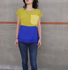 Hand dyed Silk top. Chartreuse blue and yellow color by xsilk, $142.00