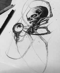 Spider Skull by artist who will be attending the this weekend FRIDAY & SATURDAY! Creepy Tattoos, Skull Tattoos, Body Art Tattoos, Dark Tattoo, I Tattoo, Skull Tattoo Design, Tattoo Designs, Tattoo Sketches, Tattoo Drawings