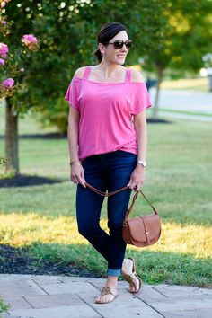 Casual End of Summer Outfit: Pink + Denim