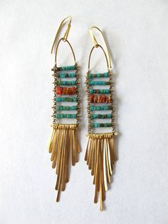 Turquoise and Spiny Oyster Crepuscular by demimondejewelry on Etsy, $138.00