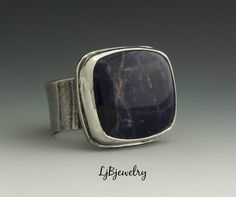 Silver Ring, Sodalite Ring, Statement Ring, Cocktail Ring, Metalsmith Ring, Handmade Jewelry, Size 9.75 by LjBjewelry on Etsy