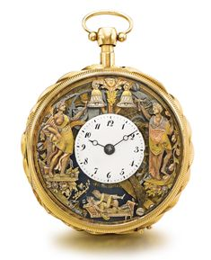 Yellow Gold Skeletonized Quarter Repeating Erotic Automaton Watch, The Background With Three Color Gold Classical Jaquemart Figures - Sotheby's Old Pocket Watches, Pocket Watch Antique, Antique Watches, Antique Clocks, African Necklace, White Enamel, Jewelry Sets, Fine Jewelry, Jewellery