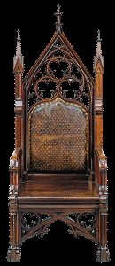 Gothic chairs looked like thrones, and its tables and sideboards have a massive presence that can at best be called dignified. Yet in its higher manifestations, the style with its tracery, pointed arches and heavily carved finials was popular with wealthy cognoscenti in the United States. It spoke of class and intellectual respectability, while evoking the piety of medieval Christianity.
