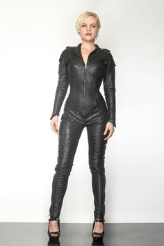 This is our made-to-order collection of Jackets and Gowns. Leather Jumpsuit, Leather Pants, Black Leather, Leather Overalls, Ashley Clothes, Leather Dresses, Teen Vogue, Perfect Woman, Fast Fashion