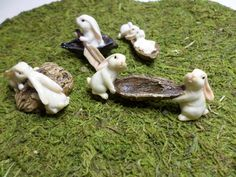 Fairy Garden Bunny Miniature Dollhouse Bunnies and Walnut Shell Fantasy Whimsey Fairy Tale Figures Plant Container Icon Supplies Durable by WaWasGarden on Etsy https://www.etsy.com/listing/208765960/fairy-garden-bunny-miniature-dollhouse
