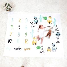 Baby Blanket Soft Cute Fox Printed Swaddle Wrap with Number Baby Monthly Photo Background Child Baby Newbron Blankets Bedding Swaddle Wrap, Baby Swaddle, Swaddle Blanket, Baby Blanket Size, Baby Milestone Blanket, Newborn Photo Props, Newborn Photos, Wrap Newborn, Baby Growth