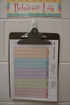 If you switch class and departmentalize, you can keep behavior logs and other important information that travels with your class on a clipboard. Keep the clipboard on a 3M hook, so you always know where it is!