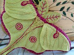 Lunar Moth, Felt Art, Sewing, Dressmaking, Couture, Sew, Stitching, Needlework, Costura