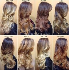 The Shades of Blonde Guide for Ombre and Balayage. I want rose!!