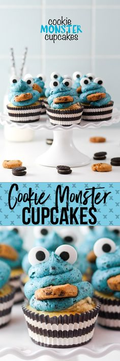 Cookie Monster Cupcakes are cute AND stuffed with Oreos and Cookie Dough Frosting!
