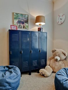 Love these blue lockers! So great for organizing a kids room.
