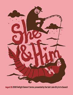 She & Him gig poster