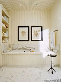 Beadboard on bath face and wall. Bath by Barbara Westbrook. Timeless Bathroom, Beautiful Bathrooms, Bathroom Colors, White Bathroom, Cream Bathroom, Master Bathrooms, Bathroom Beadboard, Bathroom Marble, Wainscoting