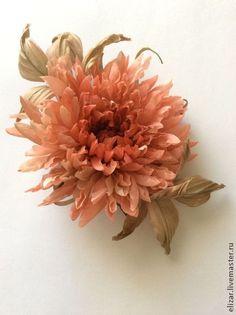 Валенсия - коралловый,цветы из ткани,цветы из шелка,хризантема,астра,украшение для волос
