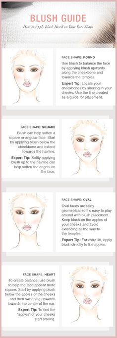 How to apply blush for your face shape. We can help you pick out the perfect glo Minerals blush & brush at Clear Waters Salon & Day Spa. Blusher Makeup, Blusher Tips, Skin Makeup, Oval Face Makeup, Square Face Makeup, Makeup Brush, Oval Face Shapes, Oval Faces, Long Faces