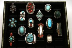 15 Navajo & Taxco Sterling Silver 925 Ring Lot Turquoise, Coral & MOP 173 Gram