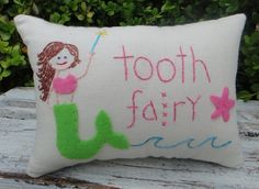 Colorful Mermaid Tooth Fairy Pillow for girl by cloverlaneboutique, $16.95