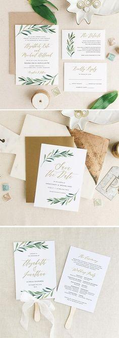 simple green leave wedding invitation suite
