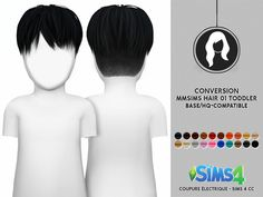 MMSIMS MF HAIR 01 FOR TODDLER > CHARACTERISTICS: - ADULT TO TODDLER - Category: Hair - Only: Boy and Girl - For Sims 4 and Origina...