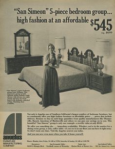 Instant access to historical digital collections. Mid Century Bedroom, San Simeon, Furniture Styles, Vintage Advertisements, Southern California, Pop Culture, Spanish, Advertising, History