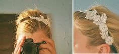 The applique for this headband came from her wedding dress, but I could use one from a thrift store or buy an applique.