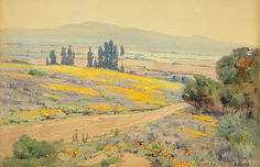 """""""California Spring Landscape"""", ca. 1920, Elmer Wachtel, watercolor, 9 3/4 x 14 1/2 in. (24.8 x 36.8 cm), Smithsonian American Art Museum Bequest of Mrs. James S. Harlan (Adeline M. Noble Collection), 1933.4.9"""