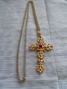 Gold Cross Necklace - Avon, jewelry, necklace, vintage by TheShakerShack on Etsy