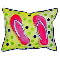 Flip Flops Extra Large Zippered Indoor or Outdoor Pillow 20x24 Extra large indoor/outdoor pillows with a zippered cover and a removable polyfill insert. Square pillows measure 22x22 and rectangular pillows measure 20x24.