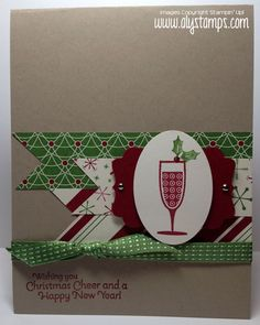 SU! Happy Hour stamp set in Gumball Green and Cherry Cobbler on Crumb Cake - Aly Schilling