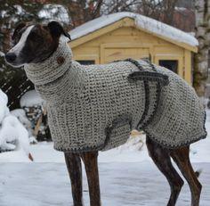 Greyhound Sweater - Greyhound Coat - Greyhound Jumper - Sighthound Coat - Large Dog Sweater - Large Dog Clothes - Crochet Dog Sweater by CTDESIGNSBESPOKEBAGS on Etsy https://www.etsy.com/listing/232887957/greyhound-sweater-greyhound-coat