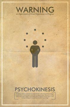 Psychokinesis Warning Poster // Fringe Science Illustration Poster // Vintage Science Fiction Wall Art