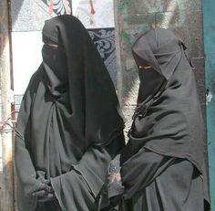Two Modest Sisters in Abaya and Niqab