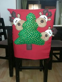 Funny And Cute Chair Cover Ideas For Christmas Christmas Items, Felt Christmas, Christmas Photos, Xmas, Christmas Ornaments, Hobbies And Crafts, Diy And Crafts, Christmas Chair Covers, Holiday Crafts