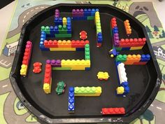 EYFS tuff spot car maze made from duplo bricks Tuff Spot, Eyfs Activities, Preschool Activities, Car Activities For Toddlers, Continuous Provision Year 1, Tuff Tray Ideas Toddlers, Montessori, Eyfs Classroom, Black Tray
