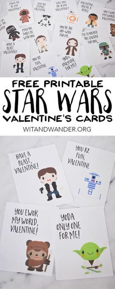Free Printable Star Wars Valentines Day Cards featuring Yoda, Han Solo, an Ewok, and R2D2 - the perfect printable Valentines Day Cards for a boy's class or a girl's classroom. Your kids will love these Star Wars characters on their Valentine's Day Cards. | Wit & Wander