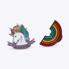 Rainbow Majesty Pin Set ($16) ❤ liked on Polyvore featuring jewelry, brooches, butterfly jewelry, rainbow jewelry, punky pins, butterfly brooch and pin brooch