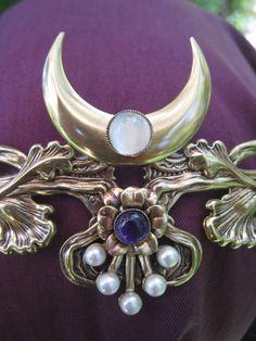 Floral pearl amethyst crescent moon circlet crown tiara