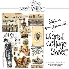 Digital Art Journaling SEASIDE BEACH Collage Sheet