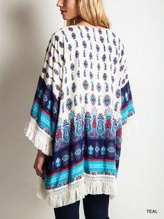 SIGN OF THE DOVE Fringed Cotton Boho Blouse/Wrap/Cardi XL/1XL/2XL PLUS #ClothingBucket #Cardigan #Casual