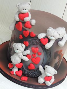 Teddy bear goth red hearts black birthday celebration cake with ornate frame Girly Cakes, Cute Cakes, Button Cake, Pink Birthday Cakes, Teddy Bear Cakes, Friends Cake, Cool Cake Designs, Valentines Day Cakes, Wedding Cake