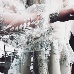 Dress for Galadriel? Gorgeous sleeve embroidery. Backstage at Paolo Sebastian SS17 by Brian Yambao.