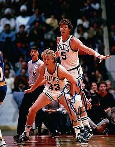 Bill Walton Signed Autographed 8X10 Photo Celtics with Bird Blue Right w/COA