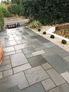 Bradstone Natural Sandstone - Paver - Silver Grey - - Successful Garden Design - Natural Sandstone will give your patio that touch of exclusivity. The many natural tonal variations - Sandstone Pavers, Paving Slabs, Paving Stones, Paver Stone Patio, Stone Backyard, Outdoor Paving, Stone Patios, Paved Patio, Outdoor Flooring