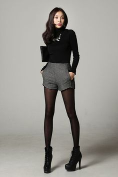Cute shorts, opaque tights, heeled boots