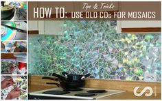 How to DIY Kitchen Backsplash Mosaic Craft Projects Use Old CDs