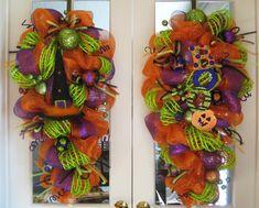 deco mesh jackolantern wreath by decoglitz on etsy 12500 wreaths halloween pinterest deco mesh wreaths pumpkins and deco - Deco Mesh Halloween Garland