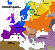 Ethnicities of Europe throughout the analysis of y-DNA Ethno-genetic map of europe: Groupings based on y-DNA Haplogroups European History, World History, Ancient History, Family History, Map Globe, Historical Maps, Old Maps, Archaeology, Armenia