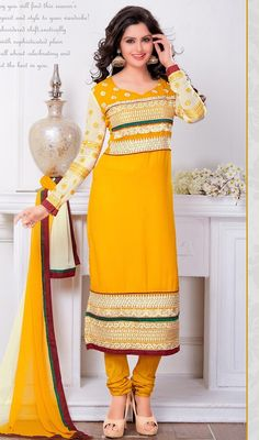 Revive your style dressed in this yellow embroidered georgette churidar dress. The ethnic floral patch, lace, resham and stones work on the clothing adds a sign of attractiveness statement for the look. #ScintillatingYellowFullSleevesChuridarDress
